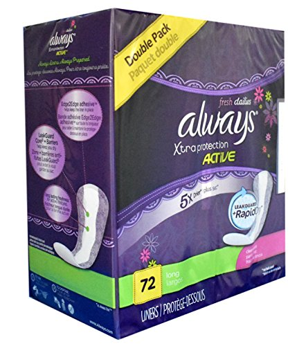 Always Fresh Dri-liners, Lightly Scented, Long, 36 Ct 2-pack (72 Liners Total)