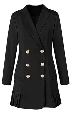 Amazon Com Alion Womens Double Breasted Long Blazer Women Work Wear