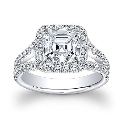 Women's 14k white gold 2 ct Asscher Cut White Sapphire diamond halo engagement ring with split diamond band 0.55 ctw
