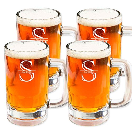 (Personalized Beer Mug Glasses Set of 4 by Froolu Customized Beer Mug Stein 14Oz. Glasses For Housewarming, Wedding Gifts)
