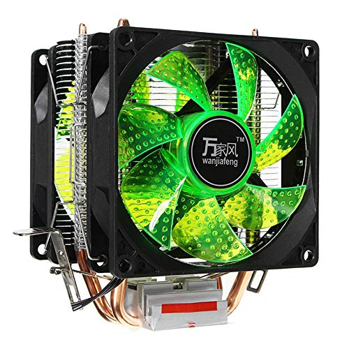 CPU Cooler LED Fans 2 Heat Pipe Quiet 3Pin Heatsink Double High Tower Heat Pipe for LGA 1155 775 1156 AMD 12V for Desktop Computer Cooling PC (Green)