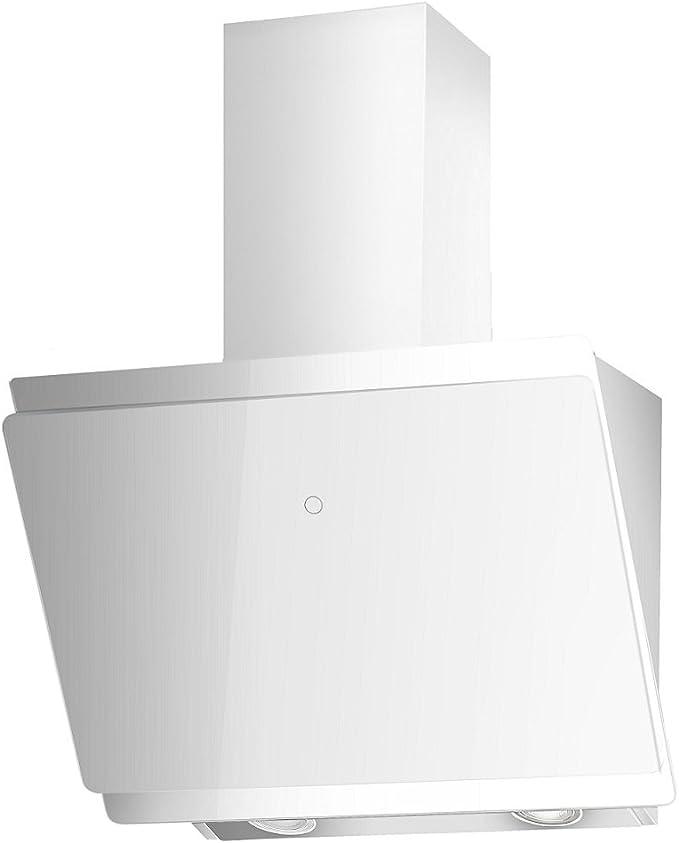 Campana extractora sin cabeza, A +, de VLANO MIRA 600 WH, 60 cm, diseño de cristal blanco, Touch Control, ECO LED, 47 dB (A), motor sin escobillas extra silencioso, recirculación, válvula de