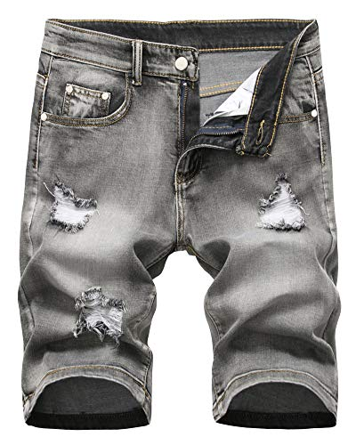 (Men's Denim Shorts Classic Fit Summer Fashion Ripped Distressed Jeans Short with Broken Hole, 303-Grey, US 36 /Tag 36 )