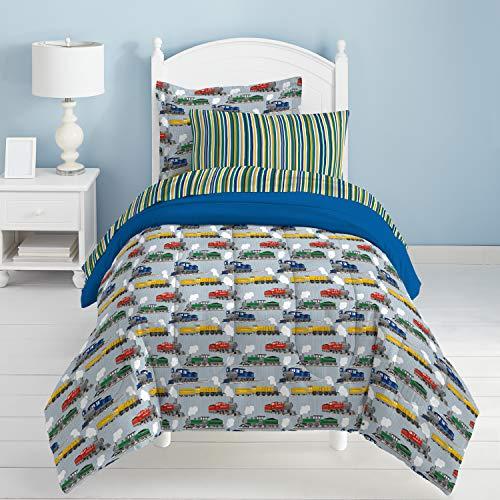 Dream Factory Trains Ultra Soft Microfiber Boys Comforter Set, Blue, Twin