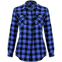 Mixfeer Women's Causal Button Down Plaid Shirt (several colors)