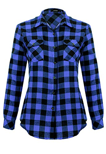 Womens Casual Button Down Plaid Shirts Roll up Long Sleeve Loose Blouse Tops with Front Pockets