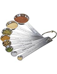 Natizo Set of 8 Stainless Steel Measuring Spoons - With 1/8, 1/3 and 1/16 Teaspoon, 1/2 Tablespoon - Metric and US Measurements - The Complete Set for Your Kitchen