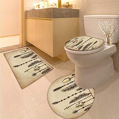 Anhuthree Tribal Toilet Rug and mat Set Bohemian Ethnic Hair Accessories with Bird Feathers Beads on String Sketch Digital Print 3 Piece Toilet lid Cover mat Set Brown ()
