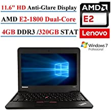 "Lenovo ThinkPad X131E 11.6"" Laptop, AMD E2-1800, 4GB DDR3, 320GB SATA, 802.11n, Webcam, HDMI, Windows 7 Professional (Certified Refurbished)"