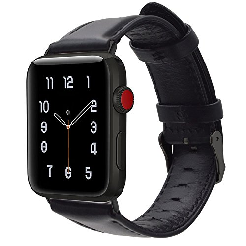 For Apple Watch Band 42MM,RUOQINI Retro Genuine Leather Strap Replacement Band for Apple Watch Series 3 / 2 / 1 (Black with Black Metal)