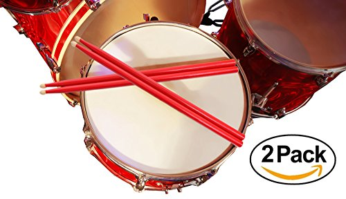 2-pairs-of-red-drumsticks-hot-sticks-colored-drumsticks-red-drum-sticks-5a-in-size-red-hot-rods-drum