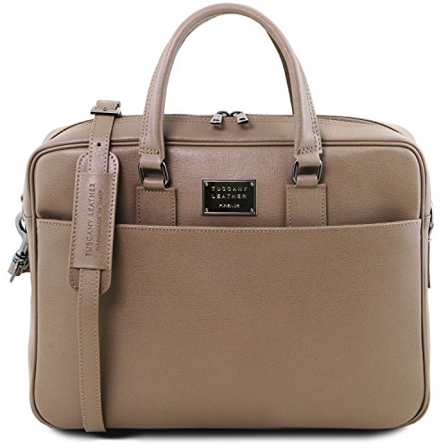 Tuscany Leather Urbino Saffiano leather laptop briefcase with front pocket Dark Taupe by Tuscany Leather