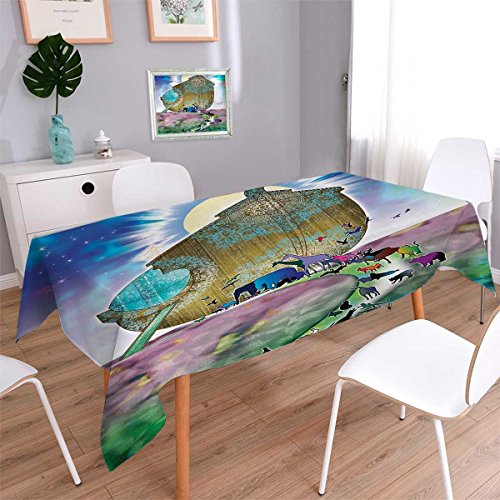 - Mystic Rectangle Rectangular Tablecloth Noahs Ark Myth Themed Big Ship with All Couple Animals on Shore Sacred Picture Graphic Oblong Wrinkle Resistant Tablecloth Multi Size: W60