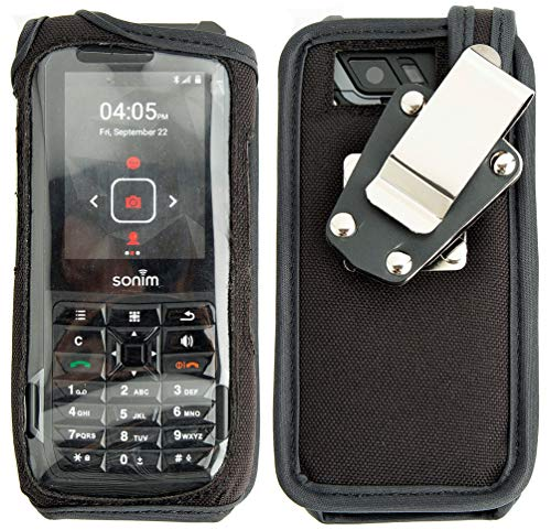 Sonim XP5s Case, Nakedcellphone [Black Rugged Nylon] Form-Fit Cover with [Built-in Screen/Keypad Guard] and [Metal Belt Clip] for Sonim XP5s Phone (XP5800)