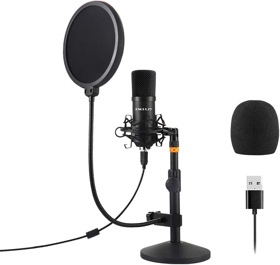 USB Streaming Podcast PC Microphone,Professional Computer Mic 192kHz/24bit Studio Cardioid Condenser Kit with Sound Card Desktop Stand Shock Mount Pop Filter for Skype Youtuber (Black)