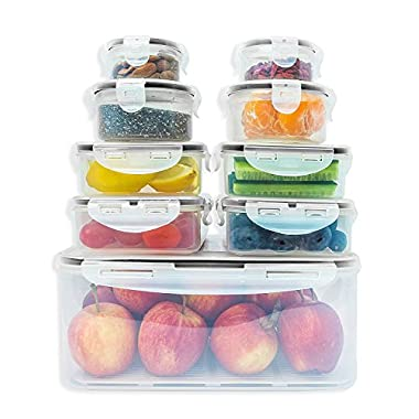 Fullstar Food Storage Containers Set with Smart Lock Lids (18-Pieces Set / 9 Containers and 9 Lids)