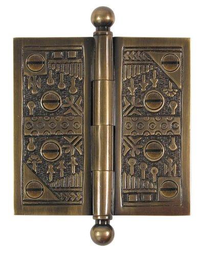 Brass Elegans WC007AB Solid Brass Windsor Design 3.5-Inch Decorative Door Hinge with Brass Screws, Antique Brass Finish (Solid Windsor Finial Brass)
