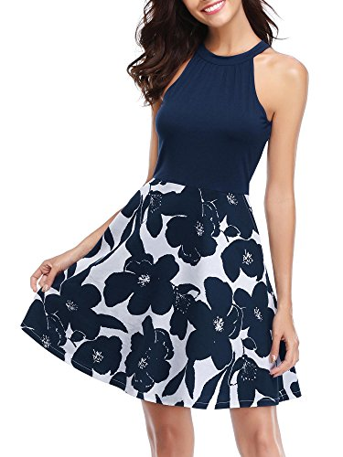 - MSBASIC Women's Graduation Dress Patchwork Sleeveless Holiday Cocktail Dress 17143-2 S Navy Blue
