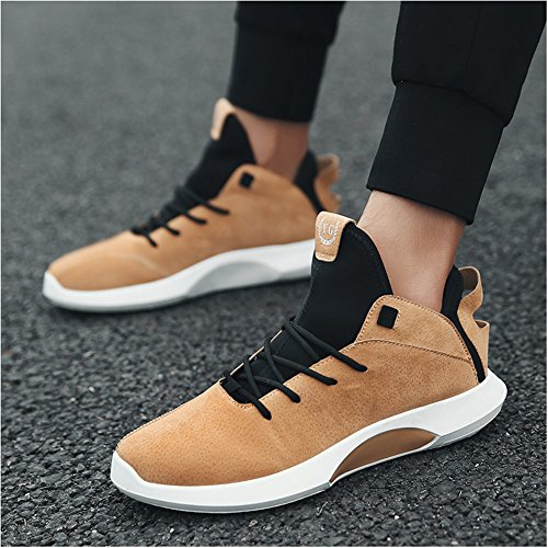 Leader Show Hommes Haut Haut Casual Baskets Lacent Loisirs Chaussures De Sport De Mode Brun