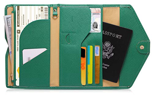 Zoppen Mulit-purpose Rfid Blocking Travel Passport Wallet (Ver.4) Tri-fold Document Organizer Holder, 3 Forest Green