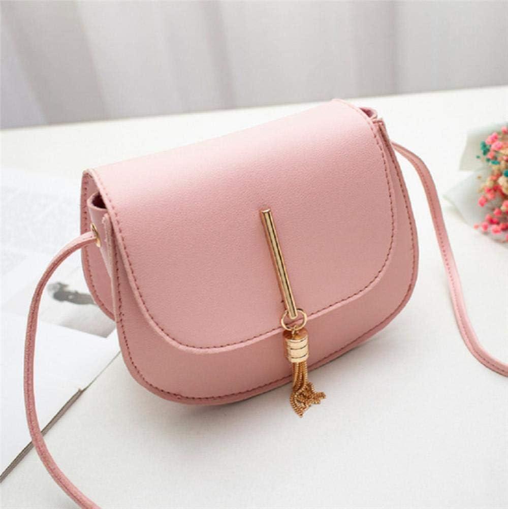 YLA Bolsos de Mensajero de Hombro con Cerrojo sólido de Cuero para Mujer Bolsos de Mini borlas con Flecos de señora Mini, Rosa