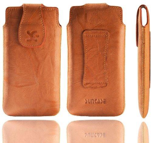 Original Suncase Echt Ledertasche für Apple iPhone 5 / 5S /5C wash-orange