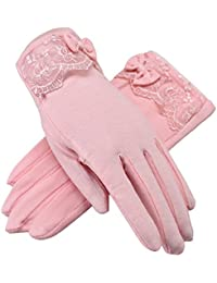 Women Driving Sunscreen Slip Gloves Cotton Gloves Breathable Lace Bow