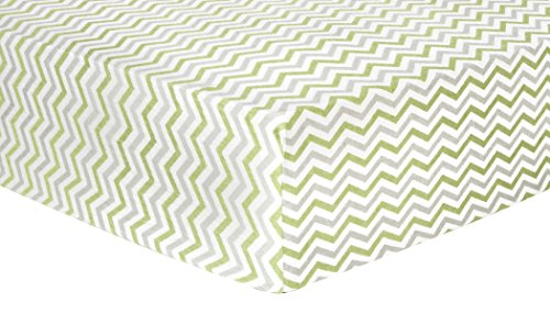 Trend Lab Chevron Deluxe Flannel Fitted Crib Sheet, Sage and Gray