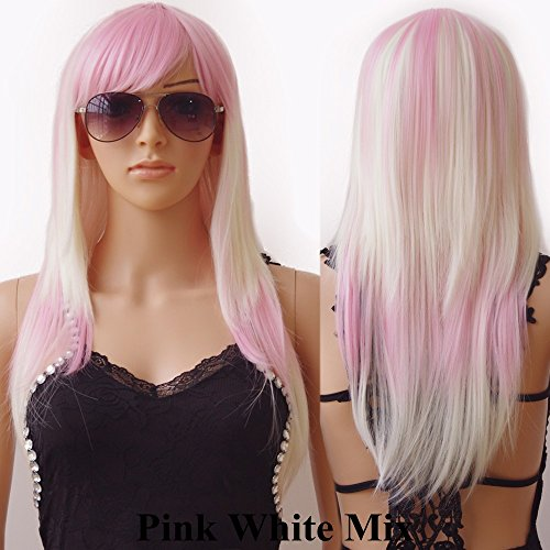 Pink Ladies Costume Hairstyles (S-noilite Long Curly Wavy Cosplay Wig Women Ladies Anime Party Costume Dress Heat Resistant Synthetic Hair Full Wigs with Bangs ((24inch/60cm,Pink WhitMix ))