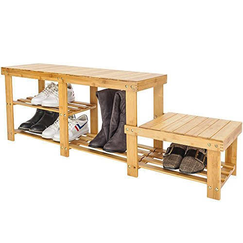 Bonnlo 3 Tiers Natural Bamboo Shoe Bench Shoe Rack Organizer Entryway Storage Shelf with High and Low Levels for Adult and Child for Closet Bathroom (Natural Storage Bench Wooden All)