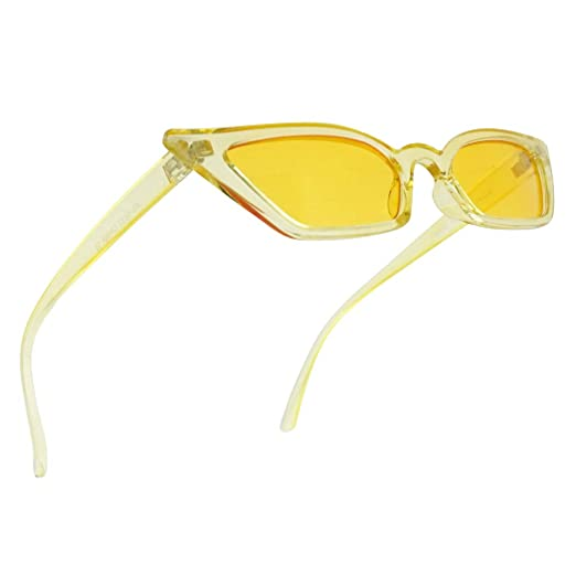 Small Tiny Narrow Vintage 1990s Squared Semi Cat Eye Sun Glasses Candy Color Translucent Clout Goggles