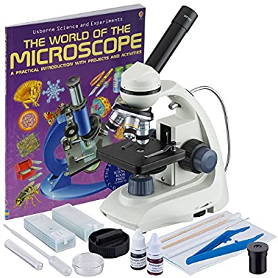 AmScope M170C-SP14-WM 40X-1000X LED Solid-metal Portable Compound Microscope with Slide Preparation + Book