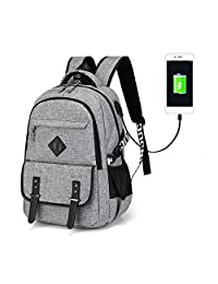 Waterproof Laptop Backpack Polyester Solid Notebook Bag with USB Charger for men&women (grey)