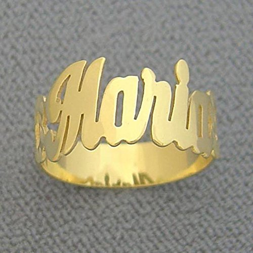 Solid 14k Gold Personalized Name Ring Side Hearts Diamond Cut