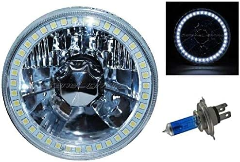 5-3//4 SMD Blue LED Halo Halogen Bulb Headlight Angel Eye Crystal Clear Set Of 4