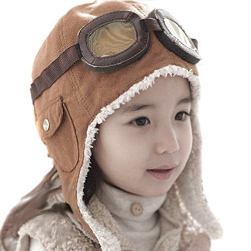 Happy Will Pilot Aviator Fleece Warm Hat Cap with Earmuffs for Kids with Stylus (Brown)
