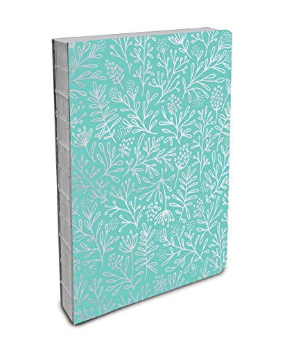 Journal Wrapped (Studio Oh! Hardcover Medium Coptic-Bound Journal Available in 10 Designs, Stacy H. Kim, Silver Flowers on Mint)