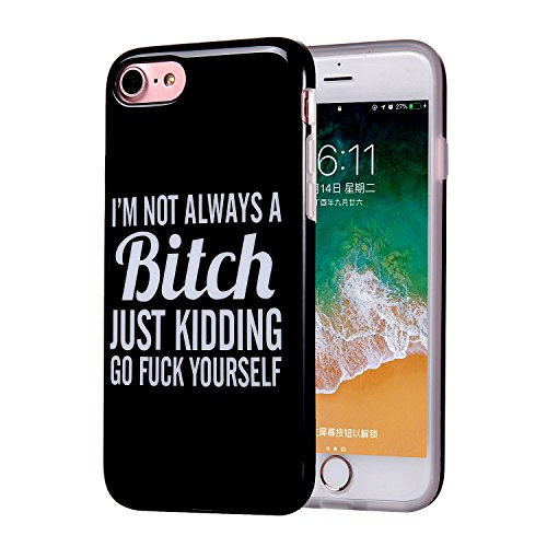 iPhone 8 Case, Clear Bumper Glossy TPU Soft Rubber Silicone Cover Phone Case [Support Wireless Charging] for Apple iPhone 7/iPhone 8 (Black White Humor)