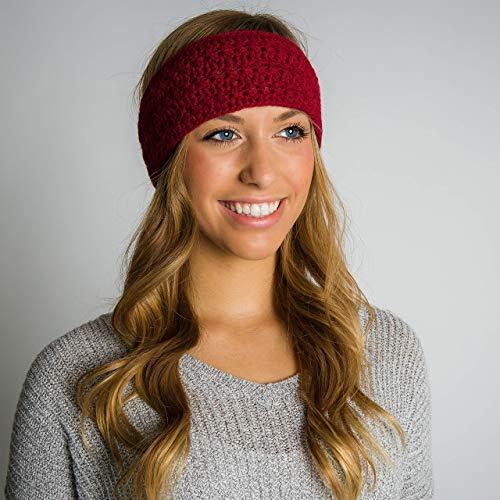 Surhilo Talara Alpaca Knit Head Warmer - Burgundy - Winter Luxury Handmade Headband