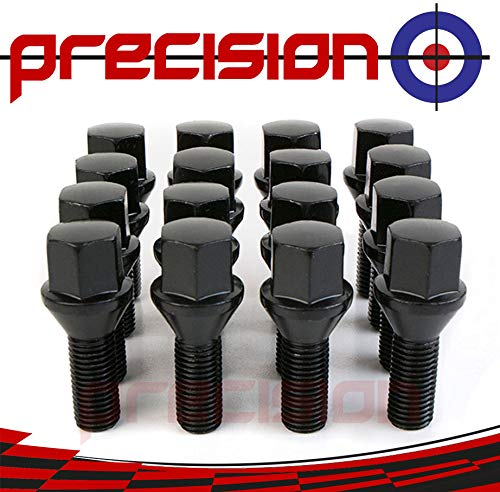 Precision 16 x Black Chrome Wheel Bolts for ṾW Ṿolkswagen UP e-Up with Genuine /& Aftermarket Alloy Wheels PN.SFP-16BM17B206