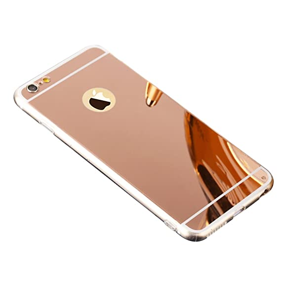 the best attitude 5241f 75e4c TPU Mirror Case for Apple iPhone 5 5S SE, fengus Ultra Slim Shockproof TPU  Frame Bumper + Mirror Reflective Effect PC Case Cover - Rose Gold