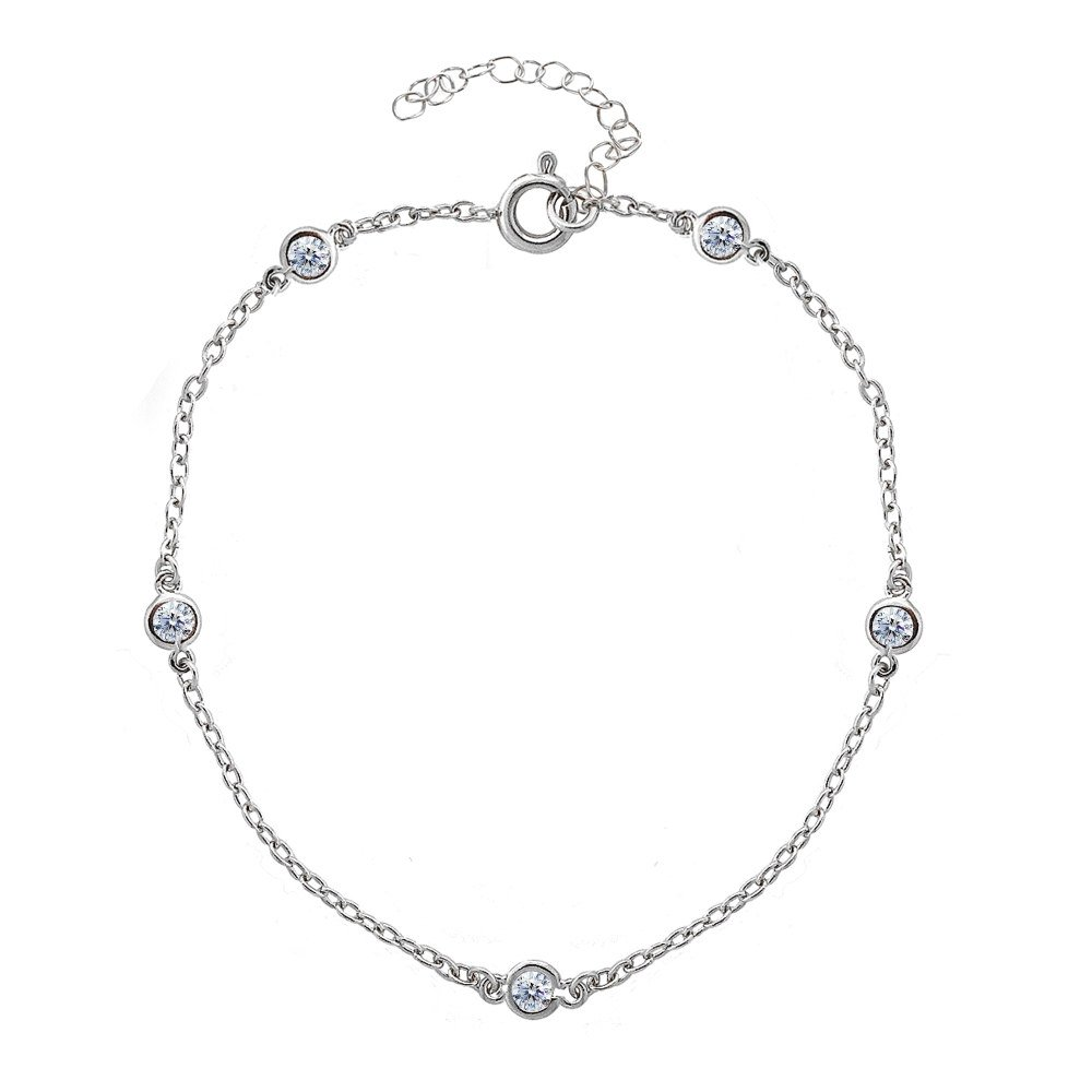 Sterling Silver Cubic Zirconia Station Dainty Chain Anklet