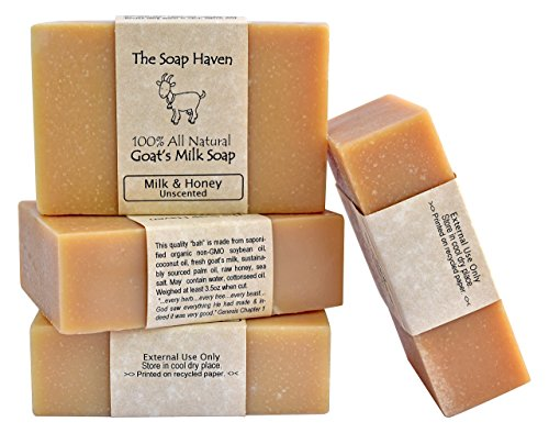 (4 Goat Milk Soap Bars with Honey - Handmade in USA. All Natural Soap - Unscented, Fragrance Free, Fresh Goats Milk. Wonderful for Eczema, Psoriasis, Babies, and Sensitive Skin. SLS,)