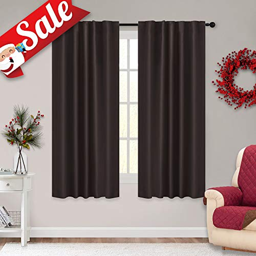 RYB HOME Short Brown Curtains for Kitchen Window Treatment Set Blackout Panels Energy Saving Thermal Insulated Curtains and Draperies for Bedroom, 42 Width by 54 Length, Brown, 2 Panels ()