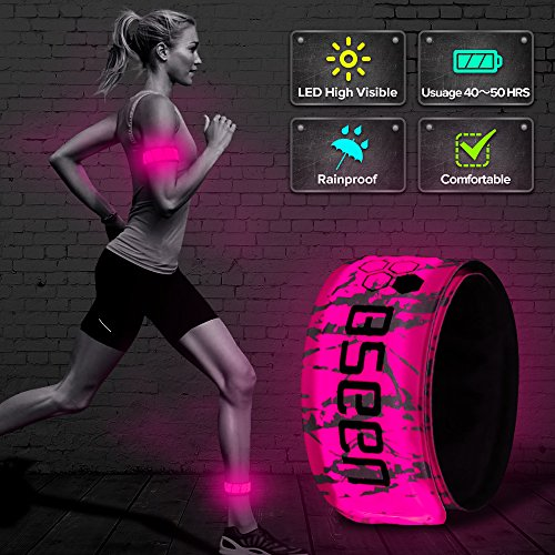 (BSEEN LED Armband, 2ed Generation LED Slap Bracelets, Patented Heat Sealed Glow in The Dark Water/Sweat Resistant Glowing Sports Wristbands for Running, Cycling, Hiking, Jogging (Pink-Design II))