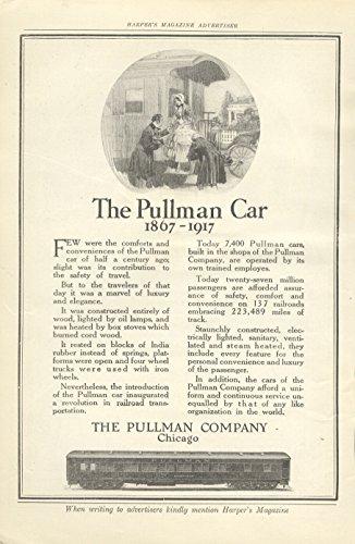 1917 Ad Pullman Car Carriage Train Compares 50 Yrs Of Service   Original Vintage Advertisemet