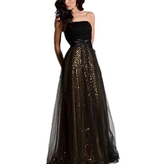 TAOST Women Bling Bling Prom Dress Strapless Black Evening Party ...