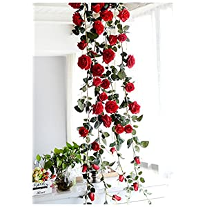 Get Orange 72 Inch Rose Garland Artificial Rose Vine with Green Leaves Flower Garland for Home Wedding Decor 59