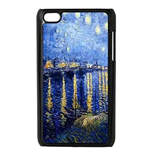 Van Gogh Art Series,Ipod Touch 4 Case,Van Gogh Art Starry Night Over the Rhone Phone Case For Ipod Touch 4[Black]