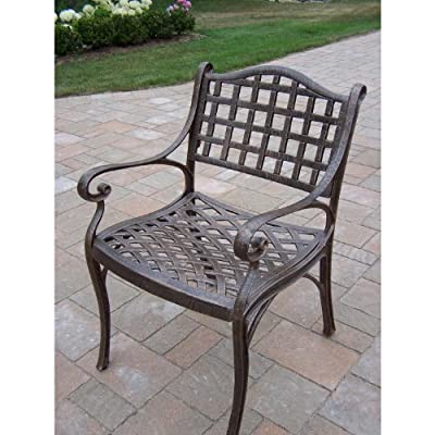 Oakland Living Elite Cast Aluminum Arm Chair - Rust Free Cast Aluminum Construction Hardened Powder Coat Finish in Antique Bronze for Years of Beauty Easy to Follow Assembly Instructions and Product Care Information - patio-furniture, patio-chairs, patio - 51sp ZZg6KL. SS400  -